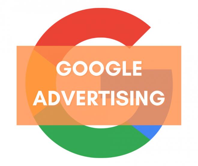 Il logo di Google con la scritta su sfondo arancione Google Advertising