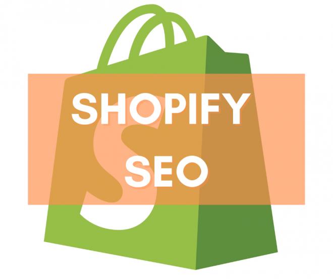 Il logo Shopify con il titolo Shopify SEO