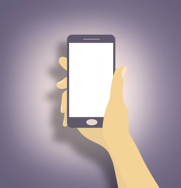 Una mano che stringe uno smartphone
